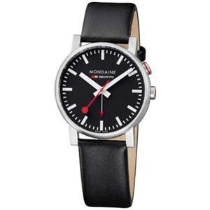 Mondaine A468.30352.14SBB. Swiss Quartz.Evo. Alarm. Black Dial. Black Leather Strap.Second Hand.30M