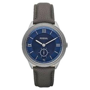 Fossil Women's ES3065. Sydney Collection. Deep Navy Dial. Gray Leather Strap. Quartz Watch.