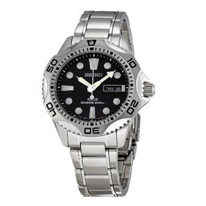 Seiko Men's SNE107 Solar Powered Diver's Watch. Stainless Steel Case/Bracelet. 200m Water Resist. Bl