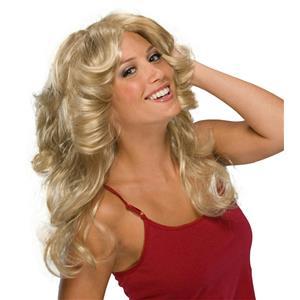 Deja Vu Retro Disco Hippie 70s Feathered Blonde Wig