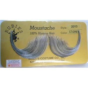 Light Grey Human Hair Handlebar Moustache 2013