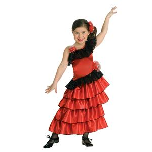 Red and Black Spanish Senorita Princess Girls Costume Size Large