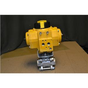 "FieldQ QS0040.UA04A.14DD10 Pneumatic Actuator with 1"" Ball Valve CF8M"