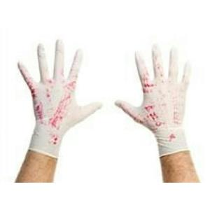 Bloody Latex Gloves Blood Stained Psycho Surgeon