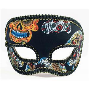 Day of the Dead Half Male Sugar Skulls Deluxe Eye Mask