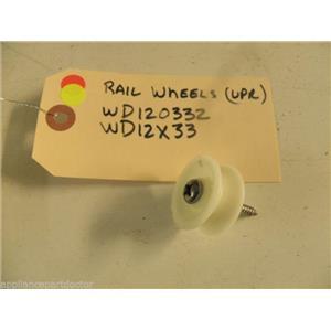 KENMORE DISHWASHER WD12X0332 WD12X332 UPPER RAIL WHEEL USED PART