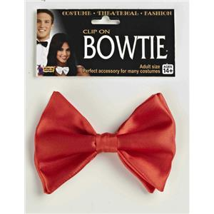 Red Formal Clip-On Bow Tie Costume Accessory