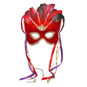 Red Venetian Karneval Mardi Gras Mask with Feathers and Ribbons