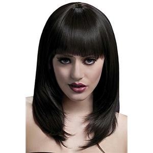Smiffy's Fever High Quality Brown Feathered Tanja Wig with Bangs & Natural Part