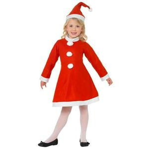 Smiffy's Child Santa Girl Ms Claus Costume Dress and Hat Small Ages 4-6