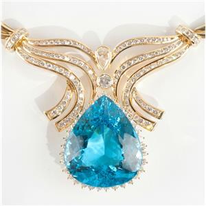 Ladies Stunning 18k Yellow Gold Pear Cut Blue Topaz & Diamond Necklace 73.59ctw