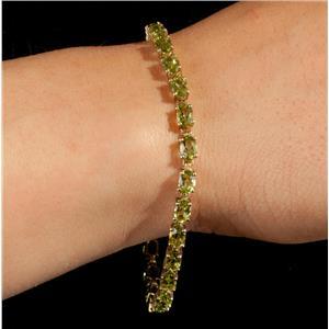 "Ladies 10k Yellow Gold Oval Cut ""AA"" Peridot Tennis Bracelet 6.5ctw"
