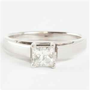 Ladies 14k White Gold Princess Cut Diamond Solitaire Engagement Ring .45ct