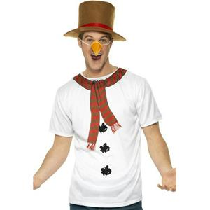 Smiffys Men's Funny Christmas Snowman Instant Kit T-Shirt Hat Nose Costume Set