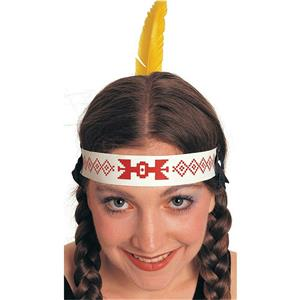 Native American Indian Headband with Yellow Feather