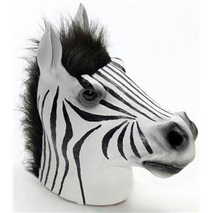 Zebra Latex Mask with Mane Forum Closed Mouth Farm Animal