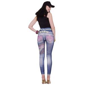 Graphic Hip Hop Jean Denim Blue Stretch Leggings XS/S (2-6) Jeggings