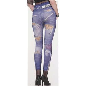 Punk Rock 80s 90s Retro Graphic Jean Leggings Jeggings XS/S (2-6)