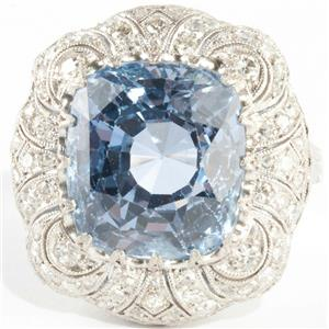 Vintage 1920's Platinum Cushion Cut Sapphire & Diamond Solitaire Ring 12.06ctw