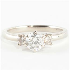 "14k White Gold Round Cut ""F"" Diamond Three-Stone Engagement Ring .85ctw"