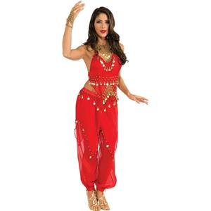 Deluxe Embellished Red Belly Dancer Sexy Adult Harem Girl Costume Large 14-16