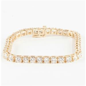 "Luxurious 14k Yellow Gold ""G"" 4.0mm Diamond Tennis Bracelet 10.0ctw 7"" Length"