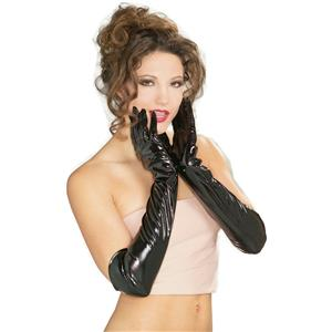Elbow Length Black Vinyl Theatrical Gloves