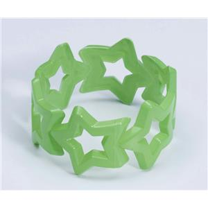 Star Bangle Bracelet Green Club Candy Neon Colored Plastic