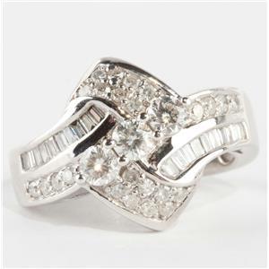 "Stunning 10k White Gold Round Cut ""H"" Diamond Cluster Cocktail Ring 1.60ctw"