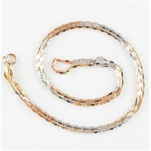 "Unique 14k Yellow / White / Rose Gold Three-Tone Chain Necklace 16"" Length"