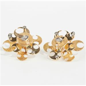 "Vintage 1960's 18k Yellow Gold Diamond ""Half Moon"" Clip-On Earrings .20ctw"
