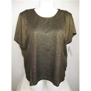 Catherines by Added Dimensions Plus Size Metallic Thread Cap Sl Top - Black/Gold
