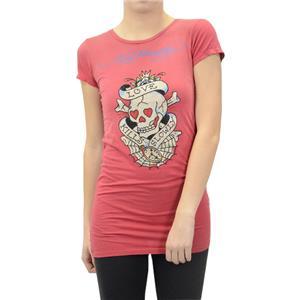 M Ed Hardy Red Love Kills Slowly Skull Rhinestone Graphic Tunic Tee Shirt/Top
