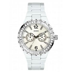 Guess Women's G13552L White Chill Crystal Dial Ladies Bracelet Watch.