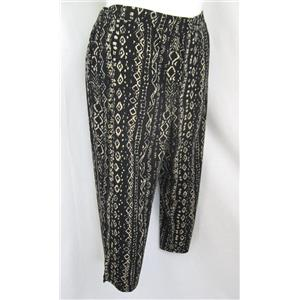 Susan Graver Printed Liquid Knit Plus Size Petite Crop Pants in Woodcut