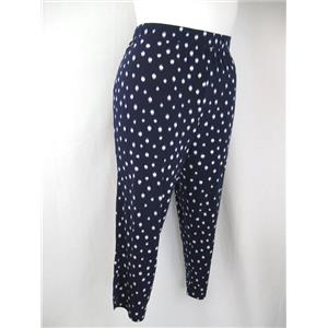 Susan Graver Printed Liquid Knit Plus Size Petite Crop Pants in Navy Dot