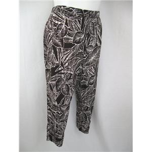 Susan Graver Printed Liquid Knit Plus Size Petite Crop Pants in Brown Palm
