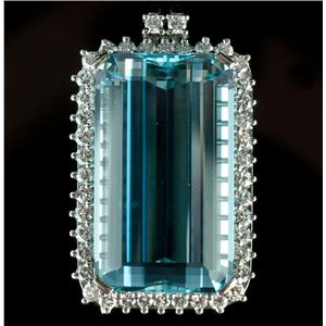 Vintage 1950's 18k White Gold Aquamarine & Diamond Pendant / Brooch 37.26ctw
