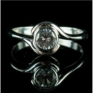 Fine 14k White Gold Round Cut White Sapphire Solitaire Bypass Ring .75ct