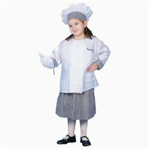 Deluxe Girl Chef Child Costume Dress Up Set Size Small 4-6