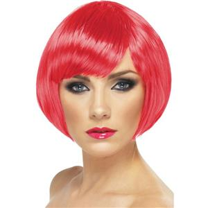 Fuchsia Pink Short Bob Babe Wig with Fringe Bangs