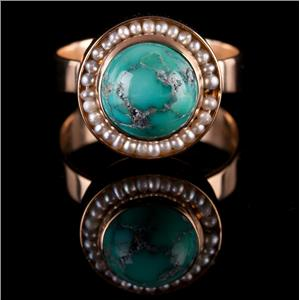 Vintage 1970's 18k Yellow Gold Cabochon Cut Turquoise Solitaire Ring W/ Pearls