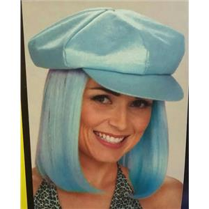 Light Blue Glitter Cap with Attached Blue Hair Wig Party Go Go Girl