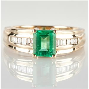 14k Yellow Gold Emerald Cut Emerald Solitaire Ring W/ Diamond Accents 1.24ctw