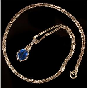 """Vintage 1960s 18k Yellow Gold Oval Cut """"AAA"""" Sapphire & Diamond Necklace 2.78ctw"""