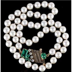 14k Yellow Gold Saltwater Pearl Necklace W/ Emerald & Diamond Clasp 3.39ctw