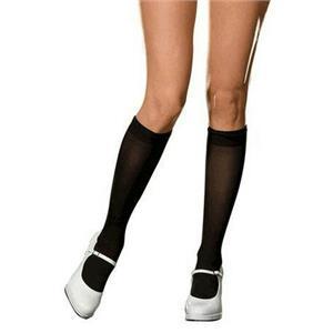 DreamGirl Sheer Black Bobbi Knee Sock Adult One Size