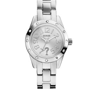 GUESS Women's U0307L1 Silver-Tone Watch with Genuine Crystal Accents & Self-Adjustable Bracelet