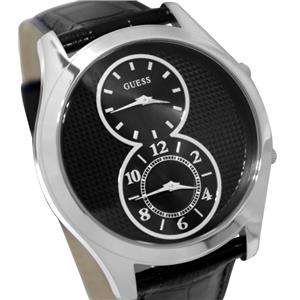 GUESS Men's U0376G1 Black Dual Time Zone Watch