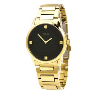 GUESS Men's U0428G1 Sleek Gold-Tone Watch with Diamond Accented Black Dial